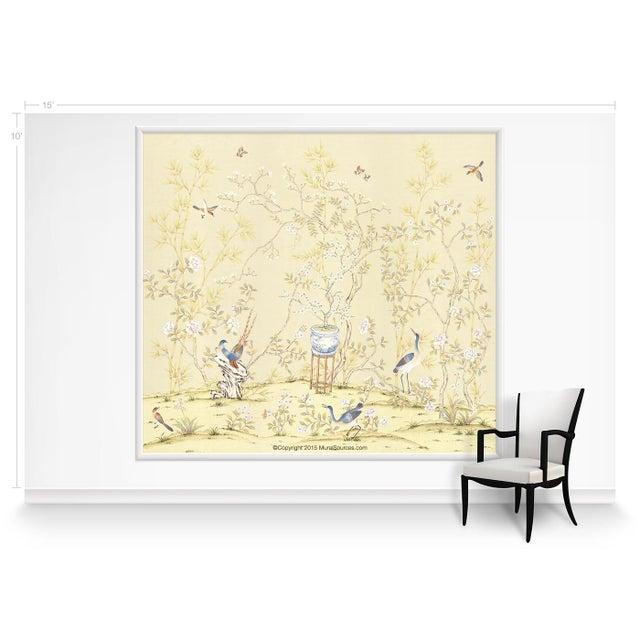 Chinoiserie Casa Cosima Cream Brighton Triptych Wallpaper Mural - Sample For Sale - Image 3 of 4