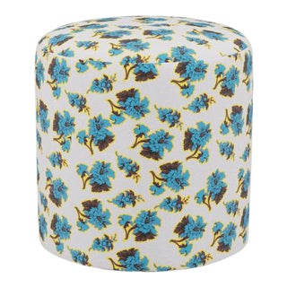 Drum Ottoman in Acid Floral For Sale