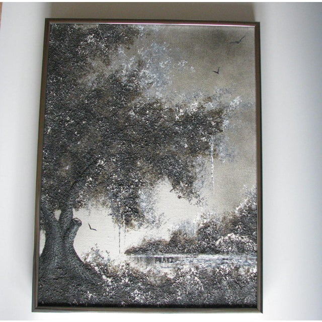 Vintage Mid-Century Chester Lewis (Perez) Original Tree Oil Painting For Sale - Image 10 of 10