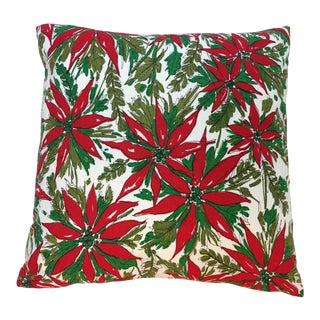 """18"""" Christmas Pillow Newly Made Vintage OldStock Fabric - Poinsetta and Fern For Sale"""
