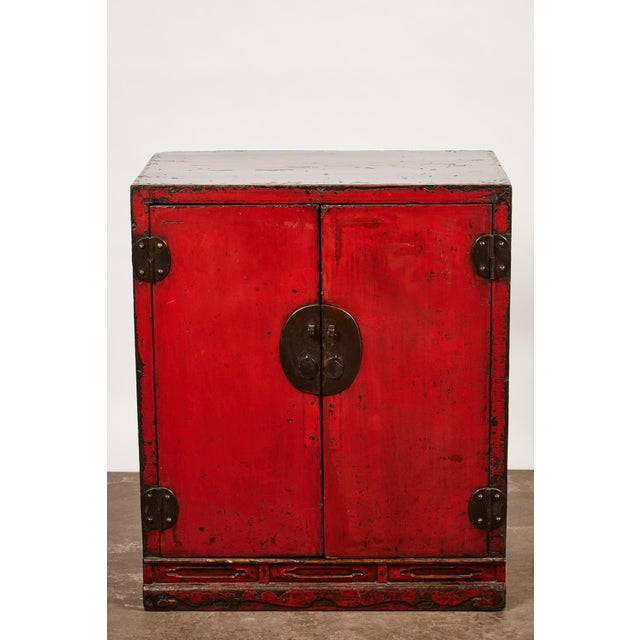 Asian 18th Century Chinese Pair of Two Door Cabinets For Sale - Image 3 of 10