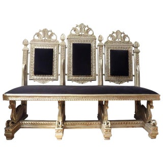19th Century Antique Venetian Silver Gilt Grotto Seahorse Bench For Sale