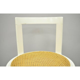 Mid Century Modern Italian Thonet Round White Cane Seat Side Chair Preview