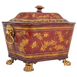 Victorian Lacquered Toleware Coal Bucket For Sale