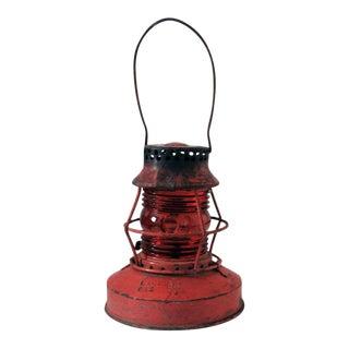 1940s Rustic Red Kerosene Lantern For Sale