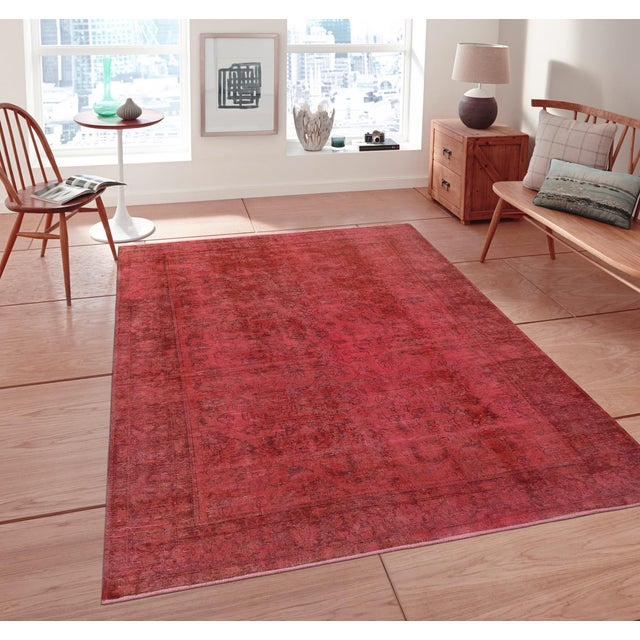 """Pink Vintage Overdyed Rug - 8' 1"""" X 10' 4"""" - Image 3 of 3"""
