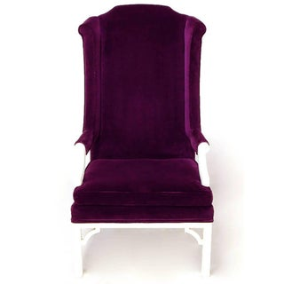 Erwin-Lambeth Plum Velvet Neo-Chippendale Wing Chair Preview