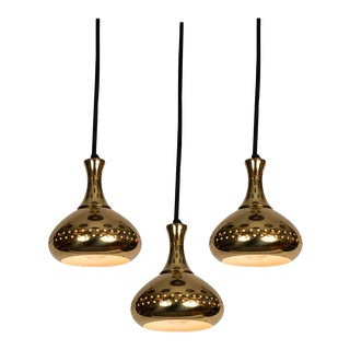 1950s Hans-Agne Jakobsson Perforated Brass Pendants for Markaryd - Set of 3 For Sale