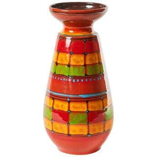 Mid-Century Modern Hand Decorated Santi Signed Vase From Italy For Sale