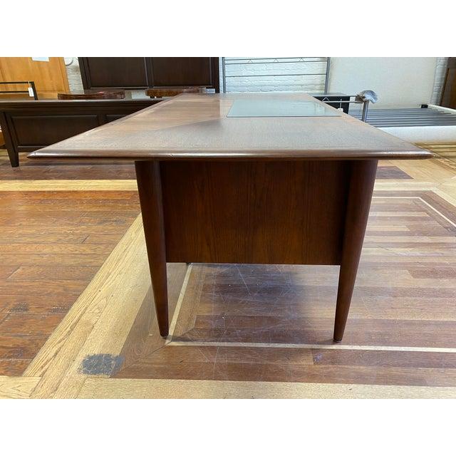 Chestnut Mid 20th Century Alma Walnut + Mahogany Castilian Series Desk For Sale - Image 8 of 13