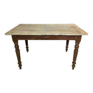 20th Century French Country Farm Table or Desk With Fluted Legs and Drawer For Sale