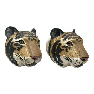 Vintage Monumental Tiger Curtain Rod Finials-A Pair For Sale