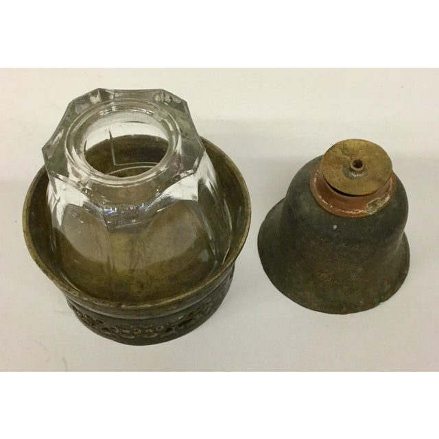 Bronze Antique Bronze & Glass Oil Lantern For Sale - Image 7 of 13