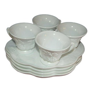 """Colony """"Harvest"""" Milk Glass Snack, Mid to Late 20th Century - Set of 4,reduced / Final For Sale"""