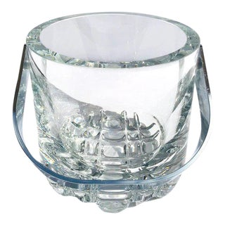 1970's Vintage Crystal Ice Bucket With Ice Glass Design For Sale