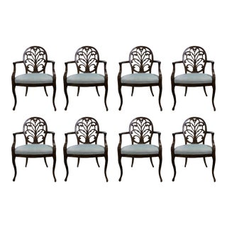 William Switzer Louis XV Carved Back Dining Armchairs - Set of 8 For Sale