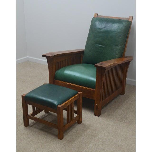 Mission Stickley Oak Morris Chair W/ Ottoman - 2 Pieces For Sale - Image 13 of 13