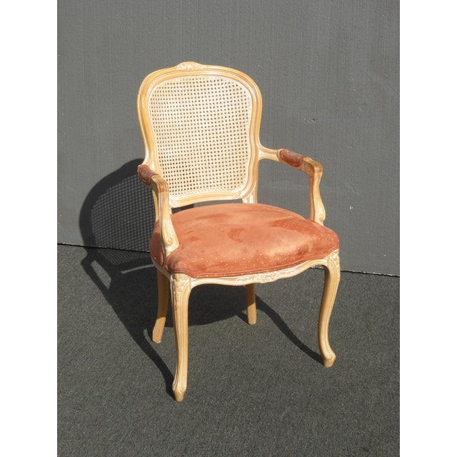 Vintage French Provincial Cane Back Off White Accent Chair W Peach Fabric For Sale - Image 4 of 11