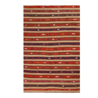 Vintage Fathiye Geometric Beige-Brown Wool Kilim Rug With Red and Navy Blue Stripes For Sale