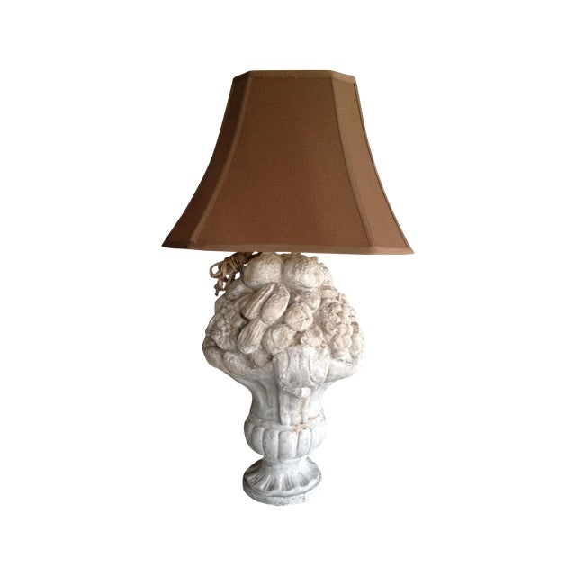 Heavy Plaster Fruit Table Lamp For Sale