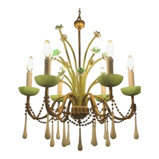 Anthropologie Jade Milk Glass Chandelier For Sale