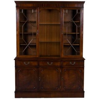 1960s Traditional Mahogany Triple Breakfront China Cabinet For Sale