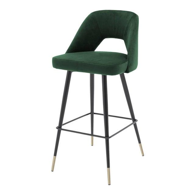 Green Velvet Bar Stool | Eichholtz Avorio For Sale