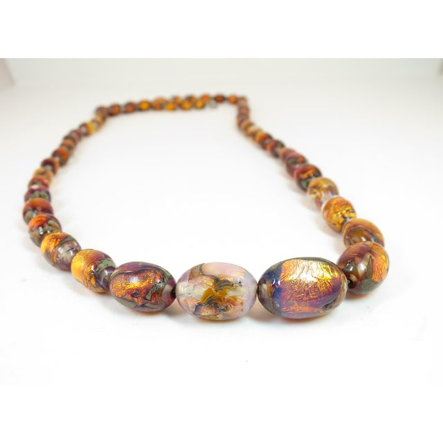 1950s Venetian Fire Opal Foiled Glass Bead Necklace 1950s For Sale - Image 5 of 13