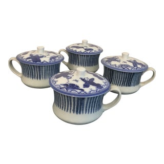 Oriental Blue and White Mugs With Lids - Set of 4 For Sale