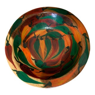 Spanish Hand-Painted Colorful Wooden Peppers Handmade Bowl For Sale