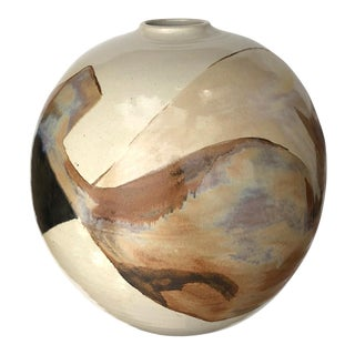 Glazed Ovoid-Form Pot/Vessel; Signed by Listed Ceramicist Sasha Makovkin (1928-2003) For Sale