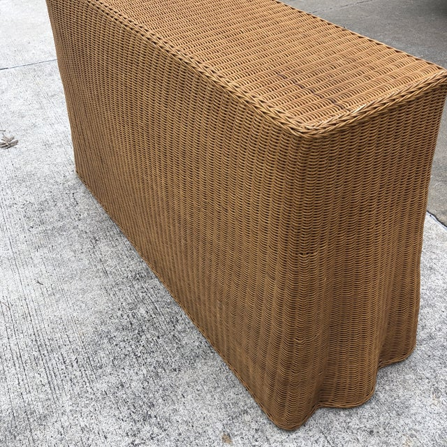 Rattan 1970s Boho Chic Trompe L'oeil Rattan Skirted Console Ghost Table For Sale - Image 7 of 9
