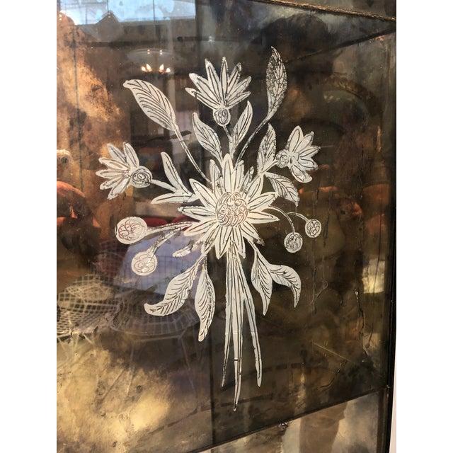 Black Vintage Four Panel Mercury Mirror Folding Screen For Sale - Image 8 of 13