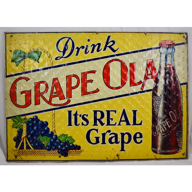 Quilted Tin Advertising Sign, Early 20th-C. Grape Ola Soda For Sale - Image 11 of 11