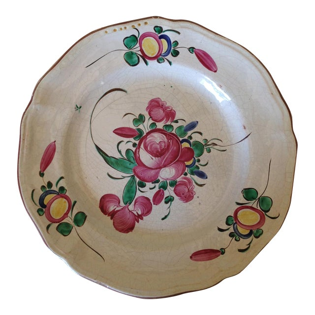 French Hand Painted Flower Faience Wall Plaque - Image 1 of 9