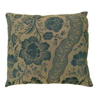 Vintage Decorative Pillow With Directional Floral Pattern For Sale