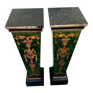 Neoclassical Faux Painted Green and Gilt Pedestals - a PAir For Sale
