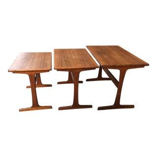 1960s Danish Modern Kai Kristiansen Empire Teak Nesting Tables - Set of 3 For Sale