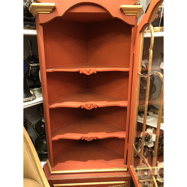 Wood Pair of Pompeian Red Hollywood Regency Corner Cabinets For Sale - Image 7 of 8
