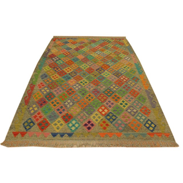 Contemporary Abstract Margheri Brown/Rust Hand-Woven Kilim Wool Rug -6'3 X 7'11 For Sale - Image 3 of 8
