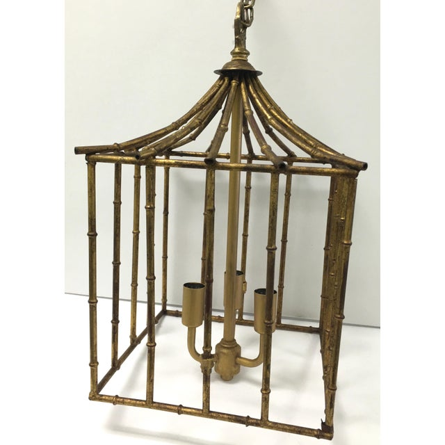 Italian Gilt Bamboo Birdcage Style Pendant Light For Sale In New York - Image 6 of 7