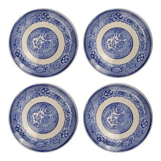 Vintage Chinoiserie Blue Willow Transferware Bread Plates- Set of 4 For Sale