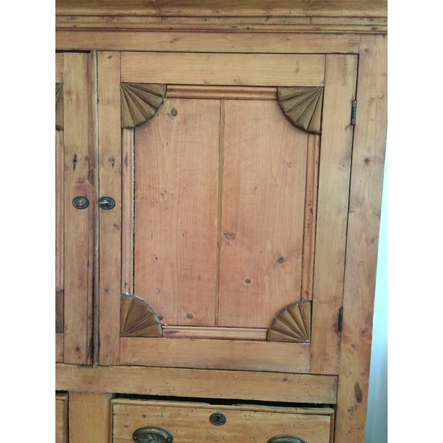 Charming Old Rustic Pine Linen Press Cabinet - Image 3 of 11