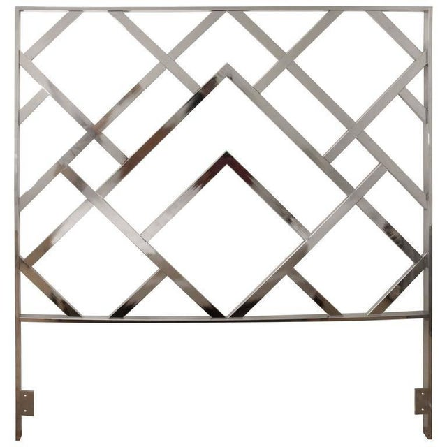 Milo Baughman Style Chrome Mid-Century Modern Queen Size Headboard For Sale In West Palm - Image 6 of 6