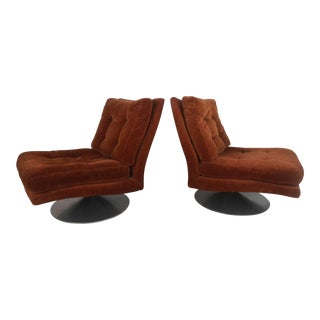 Milo Baughman Attributed Swivel and Tilt Chairs - A Pair For Sale