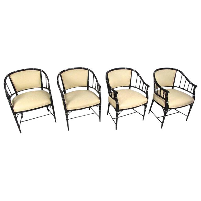 Mid-Century Modern Bamboo Style Dining Chairs- Set of 4 For Sale