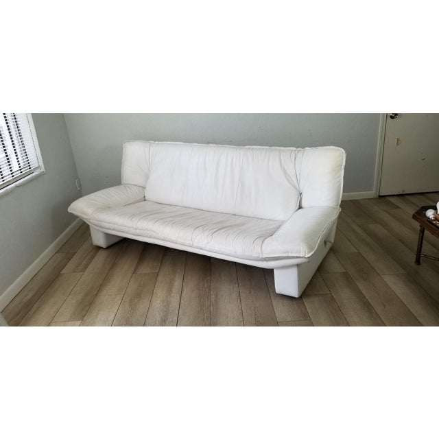 Postmodern Nicoletti Salotti Postmodern Italian Leather Sofa , Circa 1980's . For Sale - Image 3 of 13
