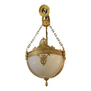 Opaline Glass Bronze Chandelier Light Fixtures For Sale