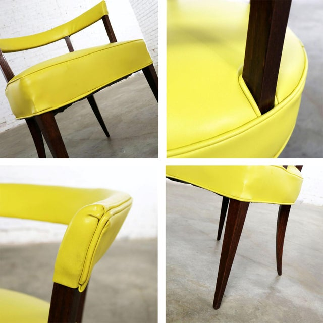 Mid Century Modern Yellow Vinyl and Oak Barrel Back Side Chair For Sale - Image 4 of 13