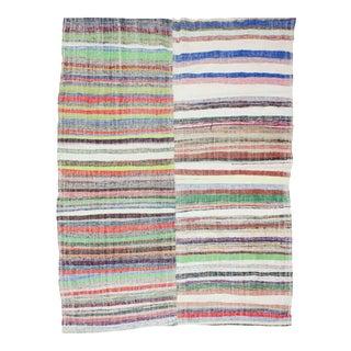 1960s Vintage Striped Rag Rug - 7′2″ × 9′7″ For Sale